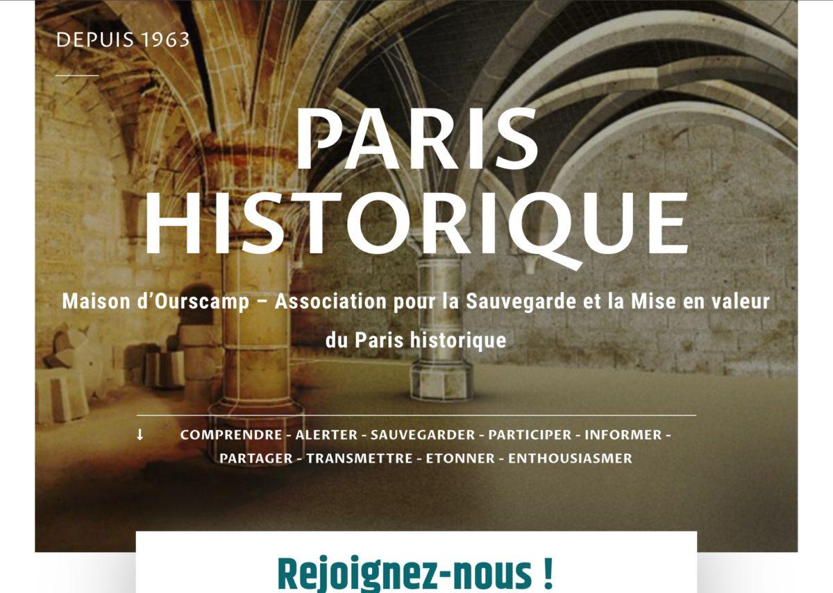 Page accueil site internet Paris historique